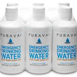 Puravai Emergency Drinking Water - 6 Pack of 1 Liter Bottles